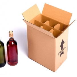 (15x) Cardboard 6 bottles wine boxes with grillaje