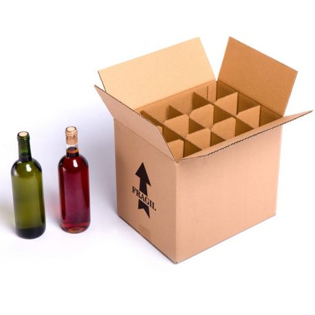 Cardboard bottles wine boxes with grillaje